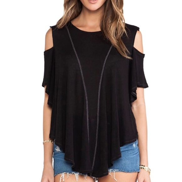582cc9a60288e6 Free People Tops | We The Free Black Cold Shoulder Top | Poshmark